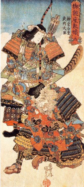 神功皇后(左)と武内宿禰(右)。武内宿禰に抱かれた嬰児が誉田別命。